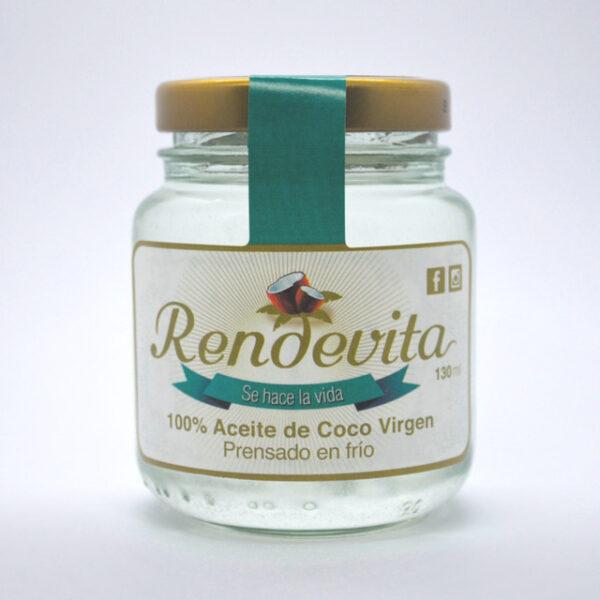 Aceite de Coco Virgen Prensado en frio Rendevita 130 ml caliente
