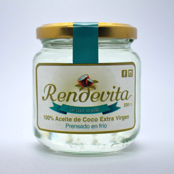 Aceite de Coco Virgen Prensado en frio Rendevita 230 ml liquido